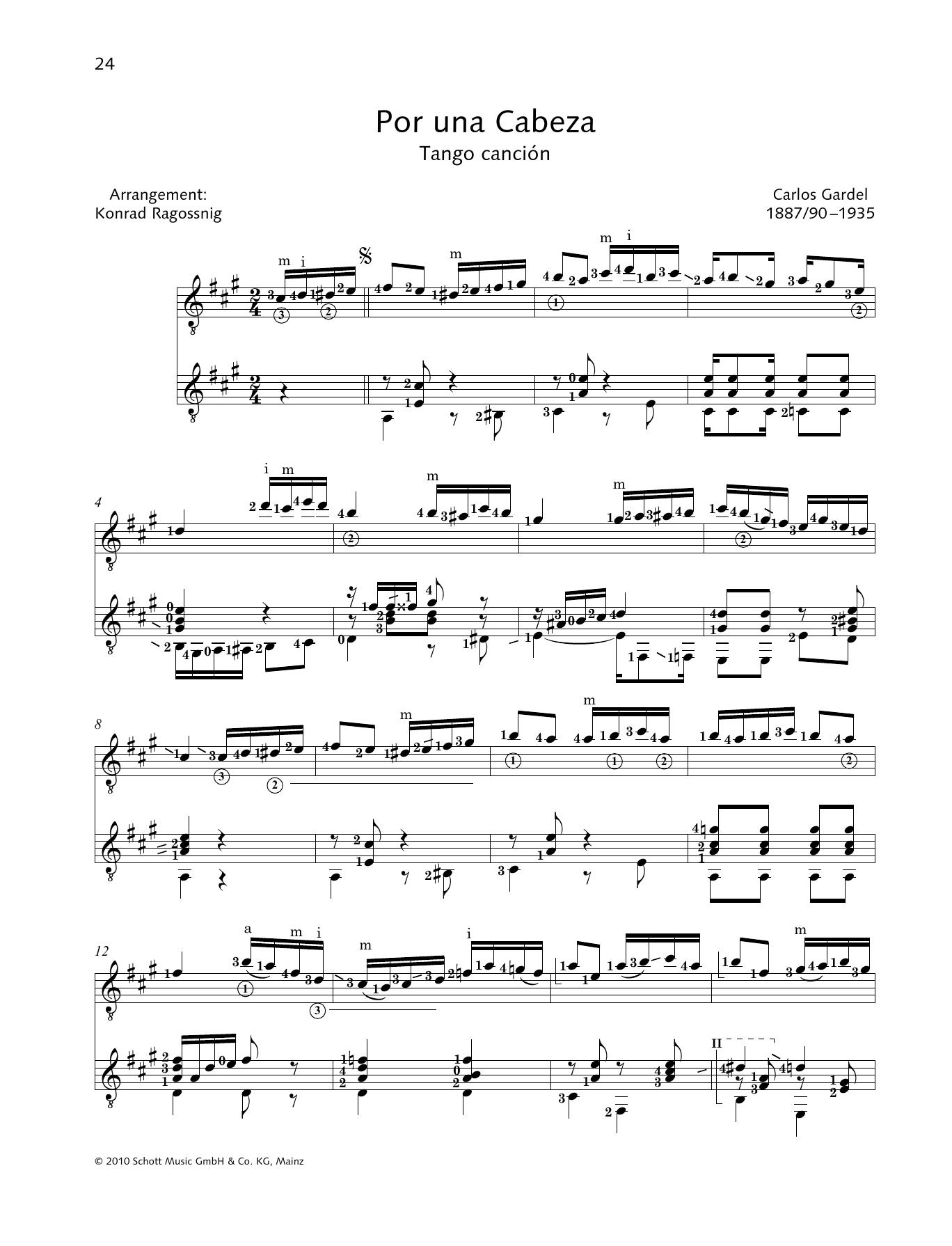 Carlos Gardel Por Una Cabeza - Full Score sheet music notes and chords. Download Printable PDF.