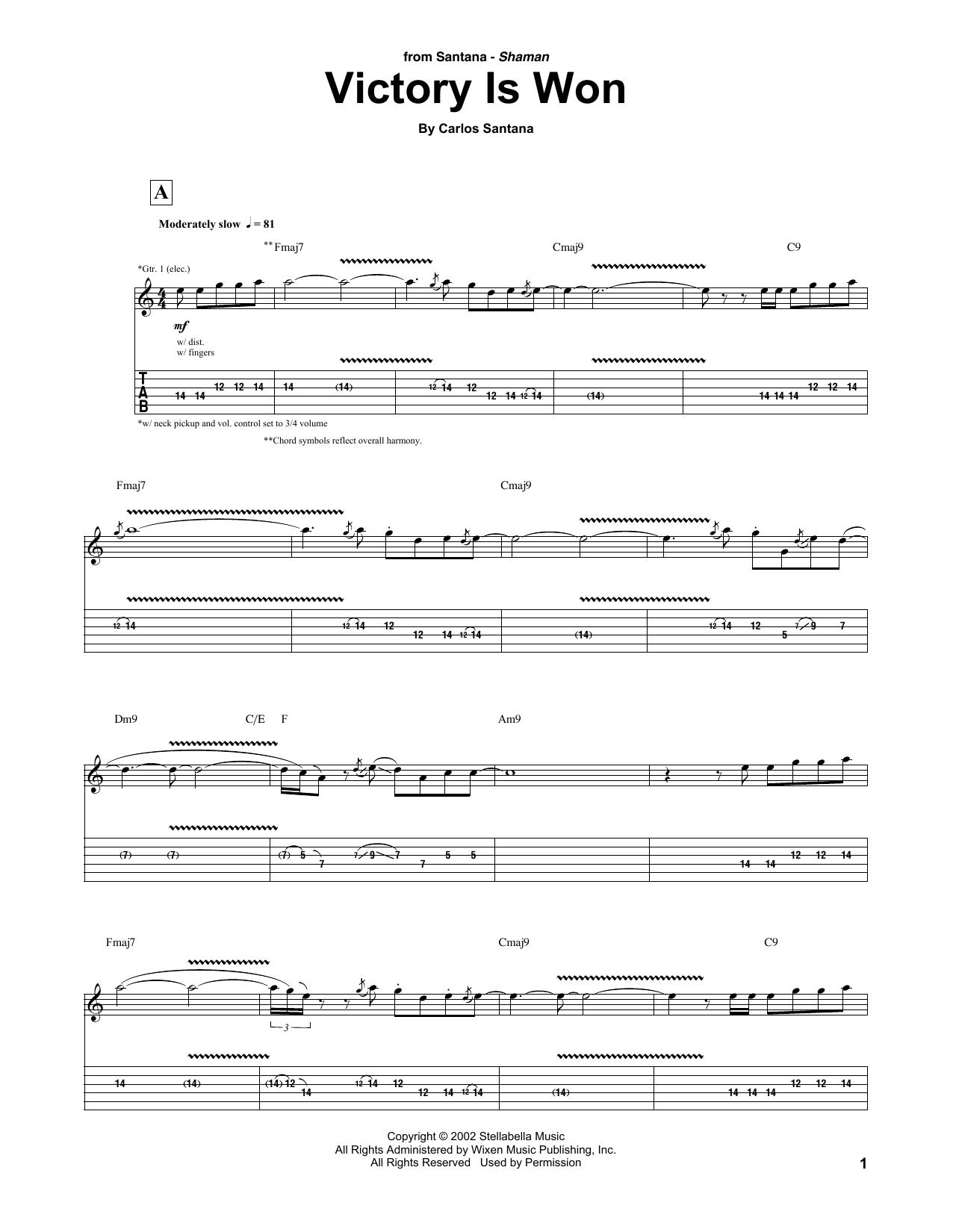 Carlos Santana Victory Is Won sheet music notes and chords. Download Printable PDF.