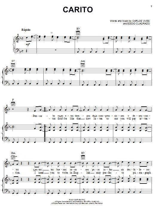 Carlos Vives Carito sheet music notes and chords. Download Printable PDF.