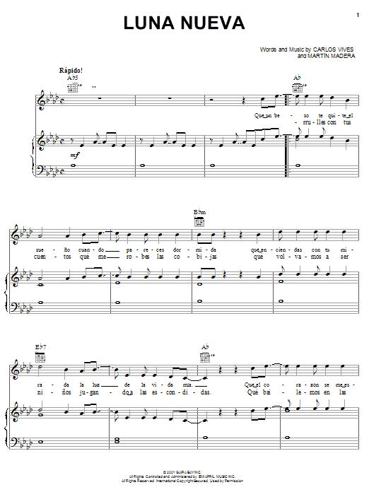 Carlos Vives Luna Nueva sheet music notes and chords