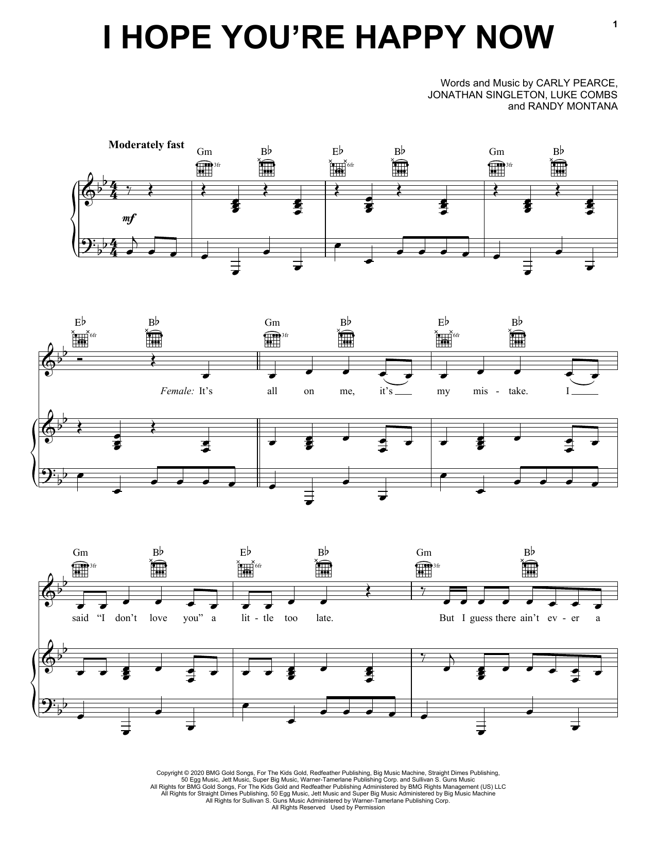 Carly Pearce & Lee Brice I Hope You're Happy Now sheet music notes and chords. Download Printable PDF.