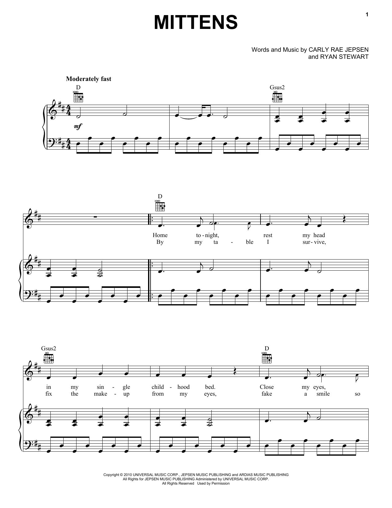 Carly Rae Jepsen Mittens sheet music notes and chords