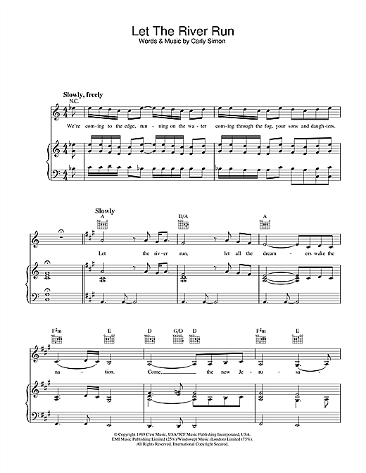 Carly Simon Let The River Run sheet music notes and chords. Download Printable PDF.