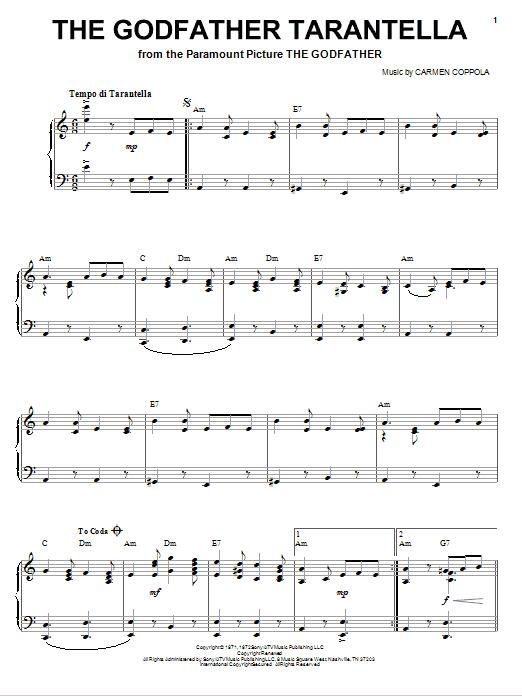 Carmine Coppola The Godfather Tarantella Sheet Music Notes Chords Download Printable Piano Vocal Guitar Right Hand Melody Sku 80862