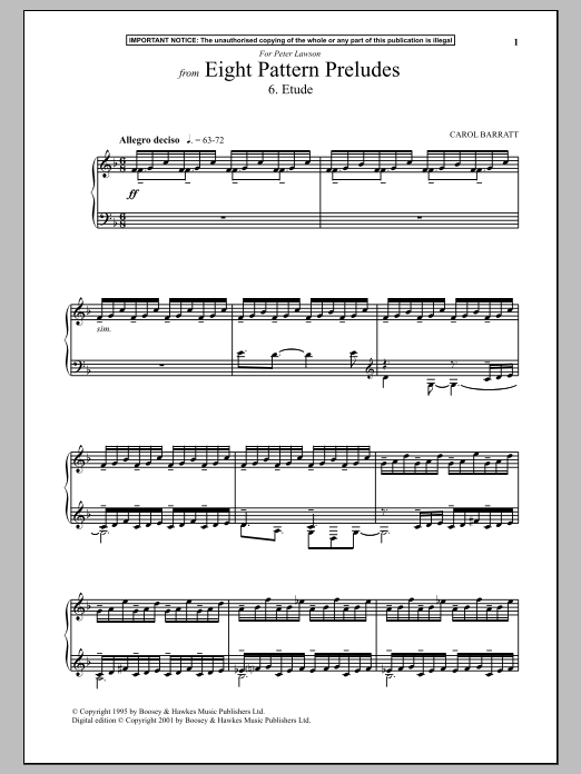 Carol Barratt Eight Pattern Preludes, 6. Etude sheet music notes and chords. Download Printable PDF.