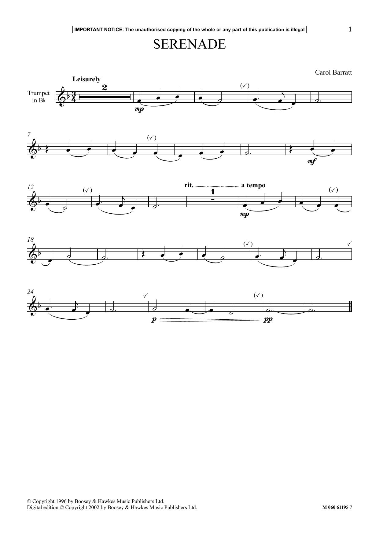 Carol Barratt Serenade sheet music notes and chords. Download Printable PDF.