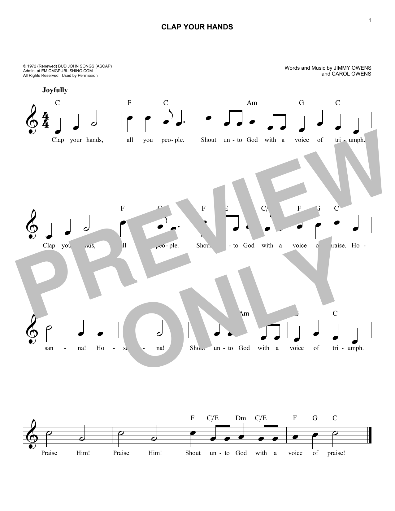 Carol Owens Clap Your Hands sheet music notes and chords. Download Printable PDF.