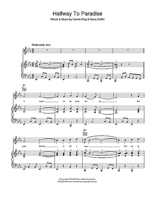 Carole King Halfway To Paradise sheet music notes and chords. Download Printable PDF.