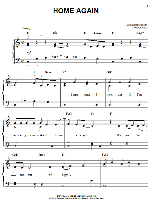Carole King Home Again sheet music notes and chords. Download Printable PDF.