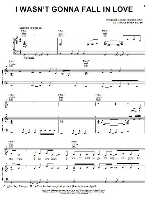 Carole King I Wasn't Gonna Fall In Love sheet music notes and chords. Download Printable PDF.