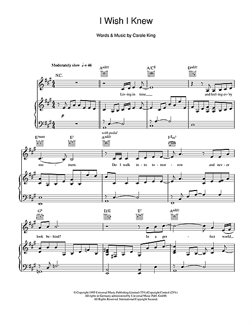 Carole King I Wish I Knew sheet music notes and chords. Download Printable PDF.