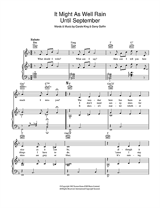Carole King It Might As Well Rain Until September sheet music notes and chords. Download Printable PDF.