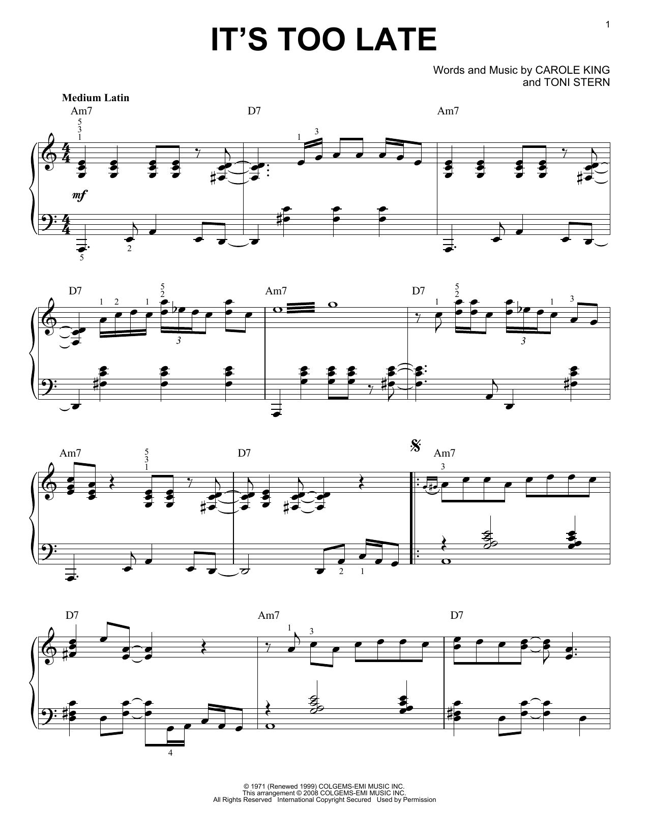 Carole King It's Too Late [Jazz version] (arr. Brent Edstrom) sheet music notes and chords. Download Printable PDF.
