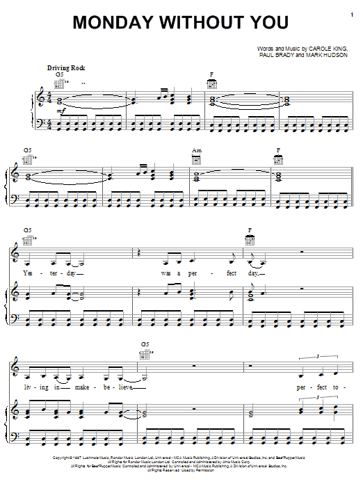 Carole King Monday Without You sheet music notes and chords. Download Printable PDF.