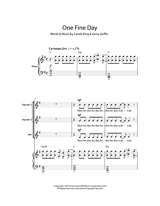Carole King One Fine Day sheet music notes and chords. Download Printable PDF.