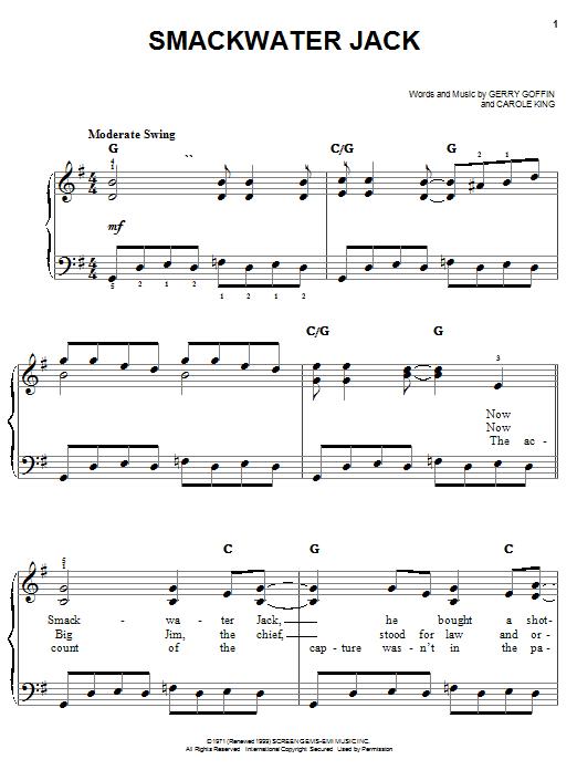 Carole King Smackwater Jack sheet music notes and chords. Download Printable PDF.