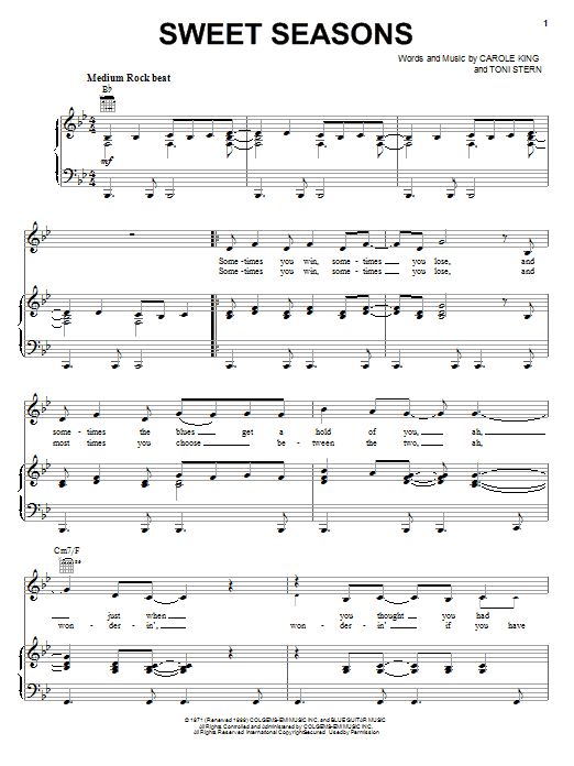 Carole King Sweet Seasons sheet music notes and chords. Download Printable PDF.