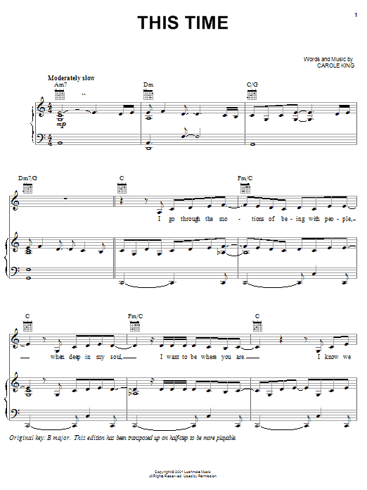Carole King This Time sheet music notes and chords. Download Printable PDF.