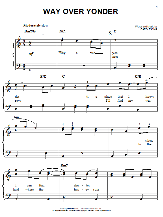 Carole King Way Over Yonder sheet music notes and chords. Download Printable PDF.