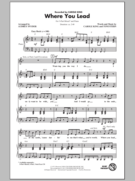 Carole King Where You Lead (arr. Audrey Snyder) sheet music notes and chords. Download Printable PDF.