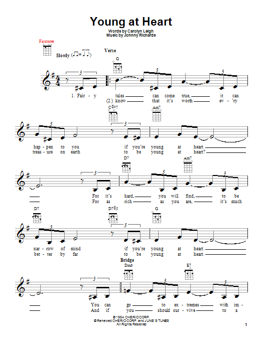 Carolyn Leigh Young At Heart sheet music notes and chords. Download Printable PDF.
