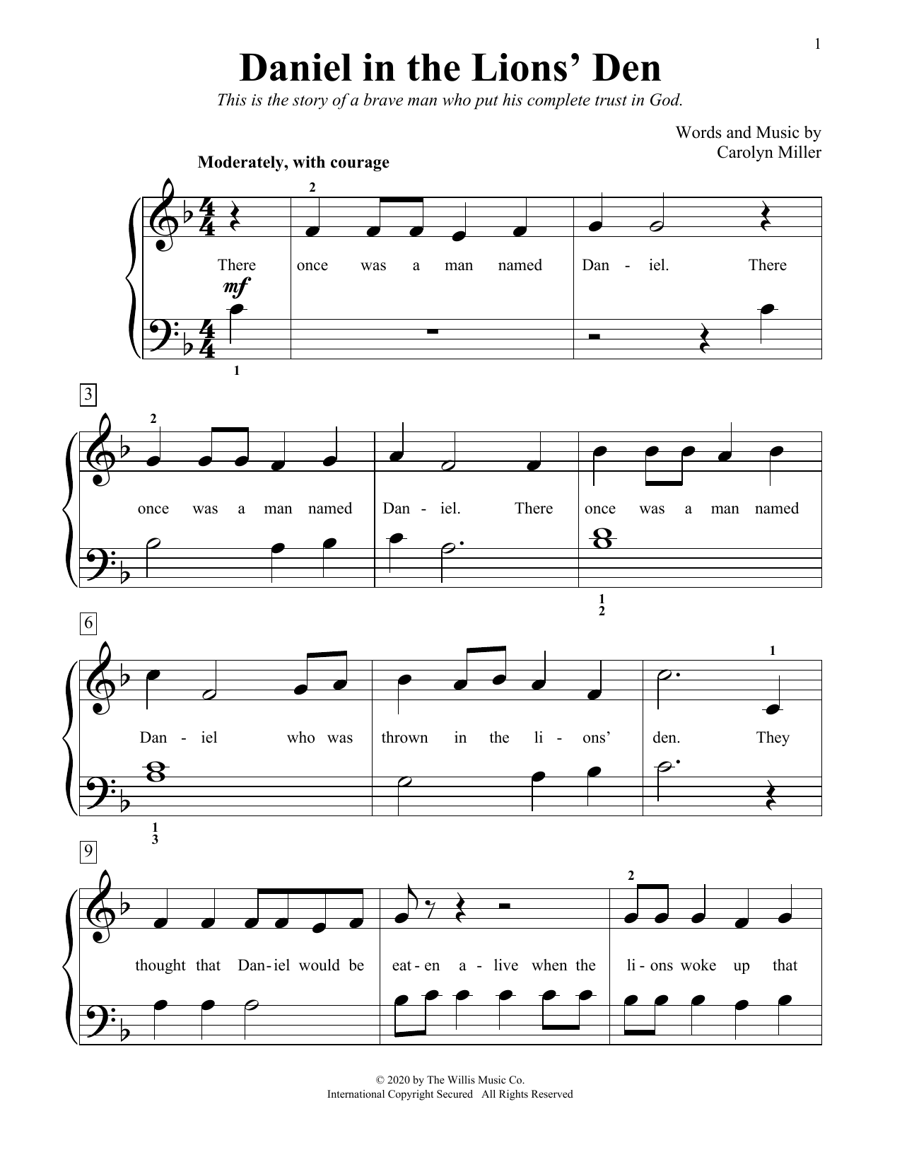 Carolyn Miller Daniel In The Lions' Den sheet music notes and chords. Download Printable PDF.
