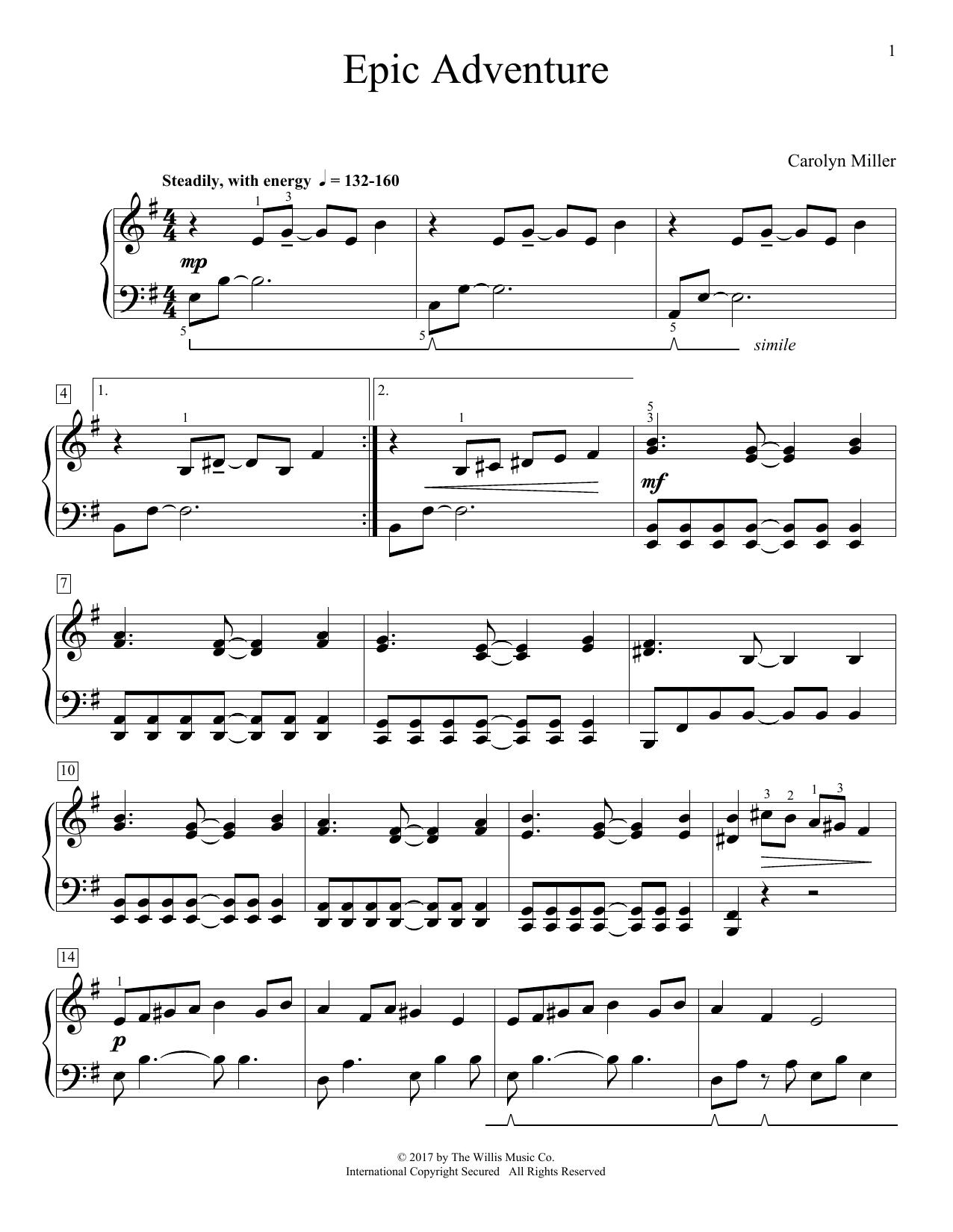 Carolyn Miller Epic Adventure Sheet Music Pdf Notes Chords Children Score Educational Piano Download Printable Sku 182009