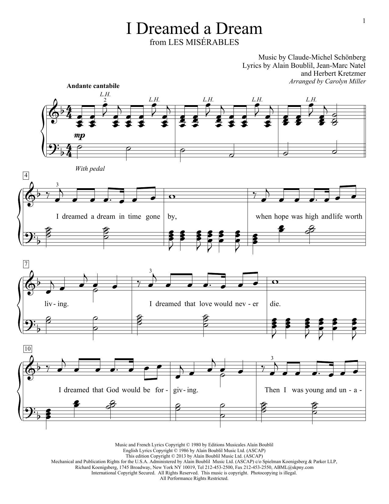 Carolyn Miller I Dreamed A Dream sheet music notes and chords. Download Printable PDF.