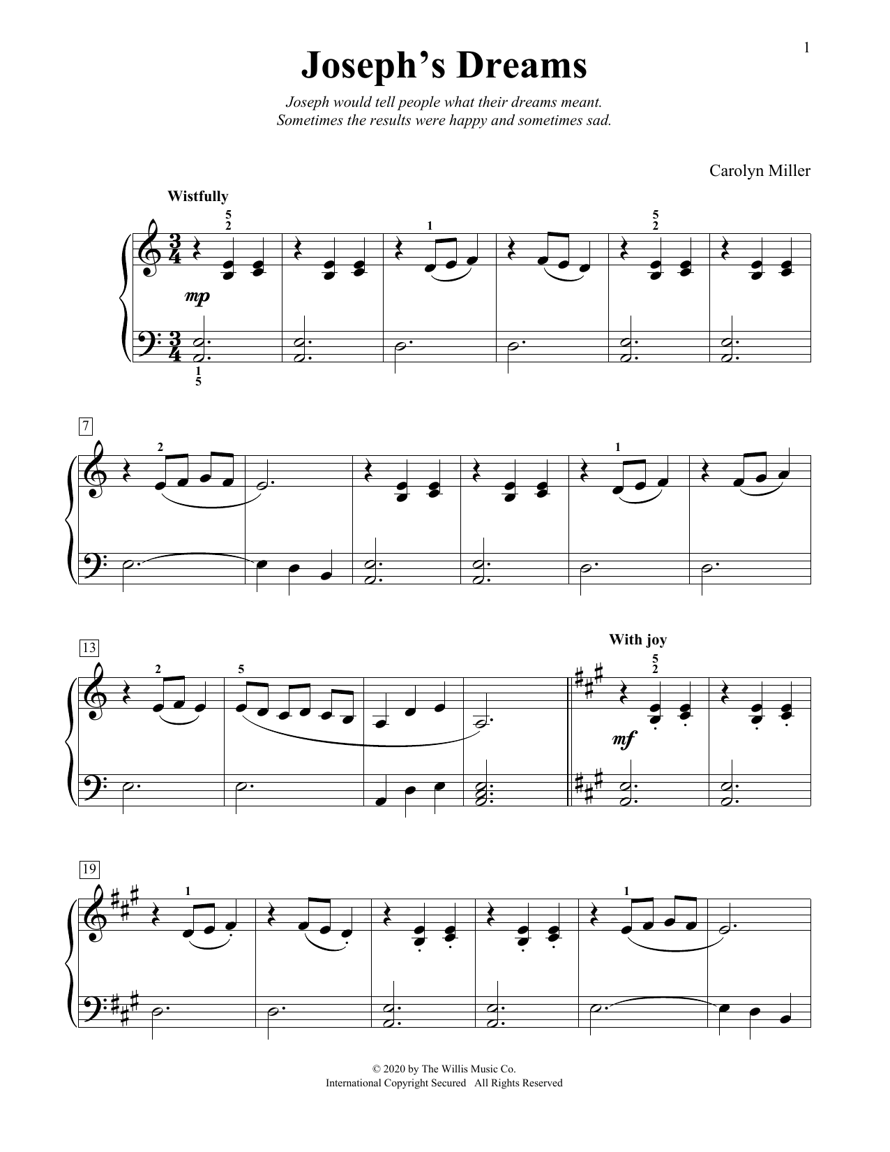 Carolyn Miller Joseph's Dreams sheet music notes and chords. Download Printable PDF.