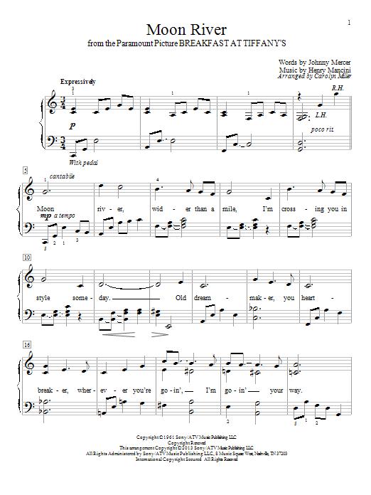 Carolyn Miller Moon River sheet music notes and chords. Download Printable PDF.