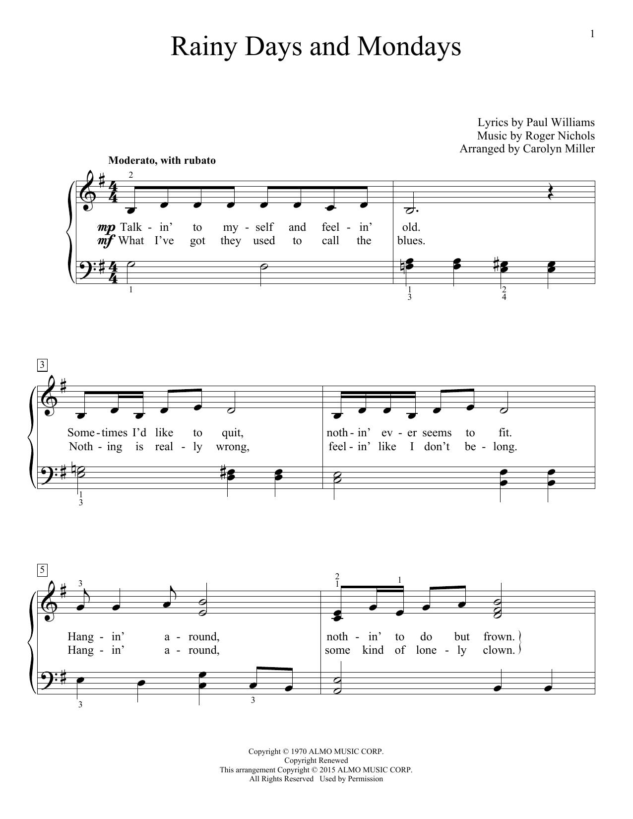 Carolyn Miller Rainy Days And Mondays Sheet Music Notes, Chords   Download  Printable Educational Piano PDF Score   SKU 15