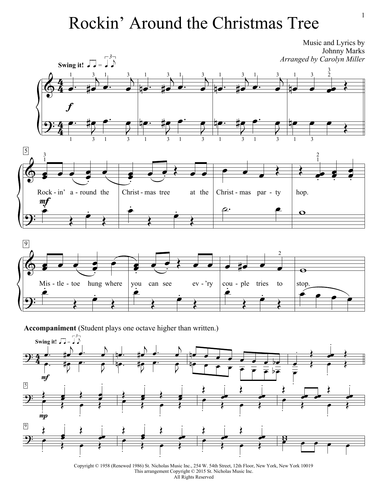 Rockin Around The Christmas Tree Piano Sheet Music.Carolyn Miller Rockin Around The Christmas Tree Sheet Music Notes Chords Download Printable Educational Piano Sku 161437