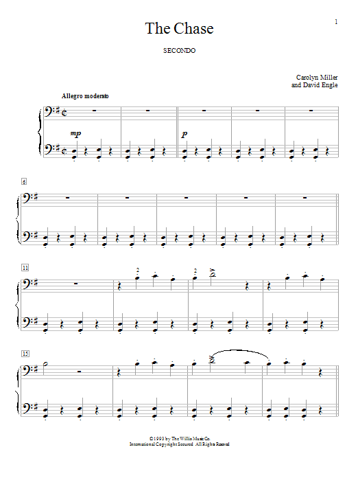 Carolyn Miller The Chase sheet music notes and chords. Download Printable PDF.