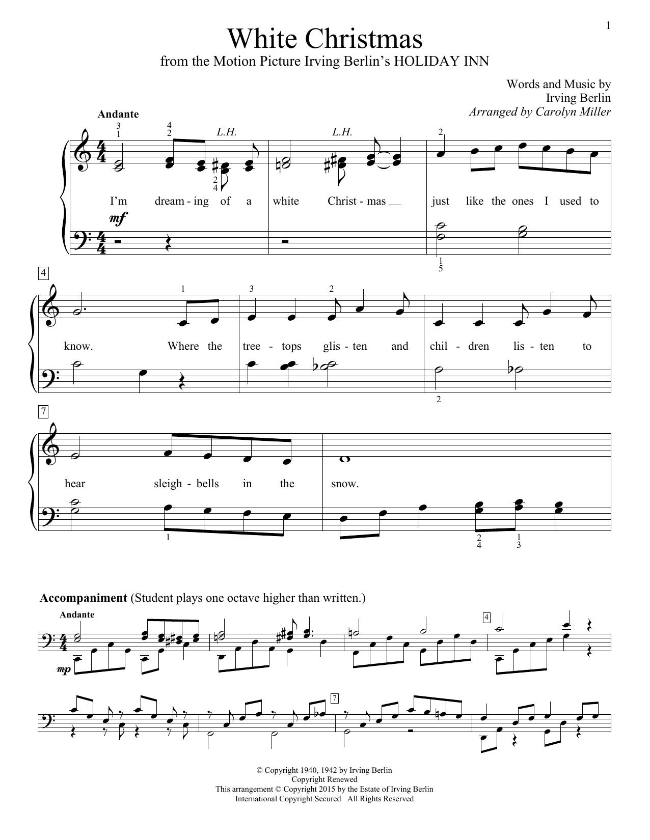 Carolyn Miller White Christmas Sheet Music Pdf Notes Chords Christmas Score Educational Piano Download Printable Sku 161367