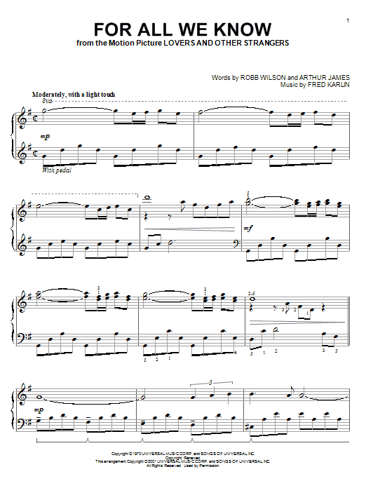 Carpenters For All We Know sheet music notes and chords. Download Printable PDF.