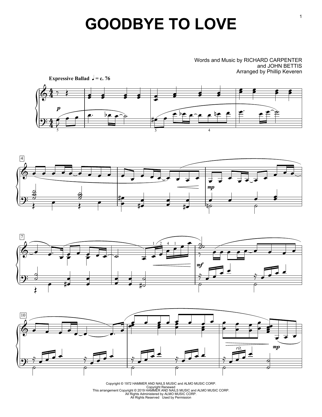 Carpenters Goodbye To Love (arr. Phillip Keveren) sheet music notes and chords. Download Printable PDF.