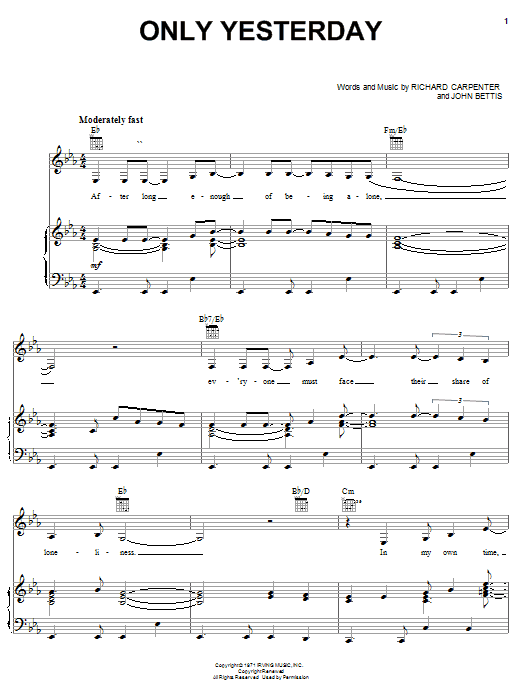 Carpenters Only Yesterday sheet music notes and chords
