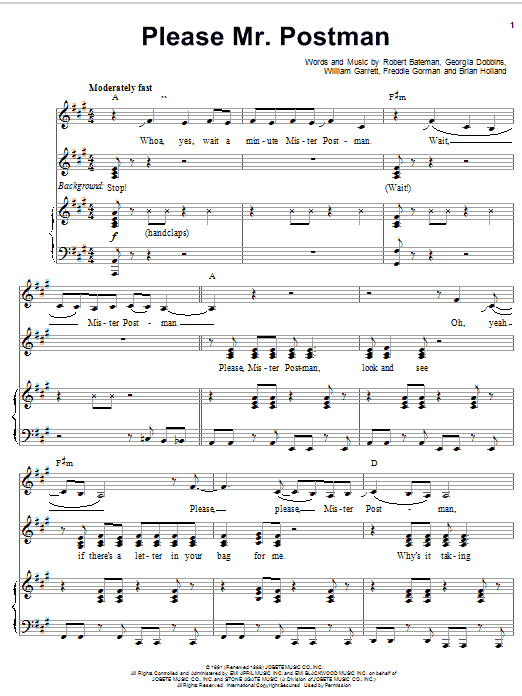 Carpenters Please Mr. Postman sheet music notes and chords