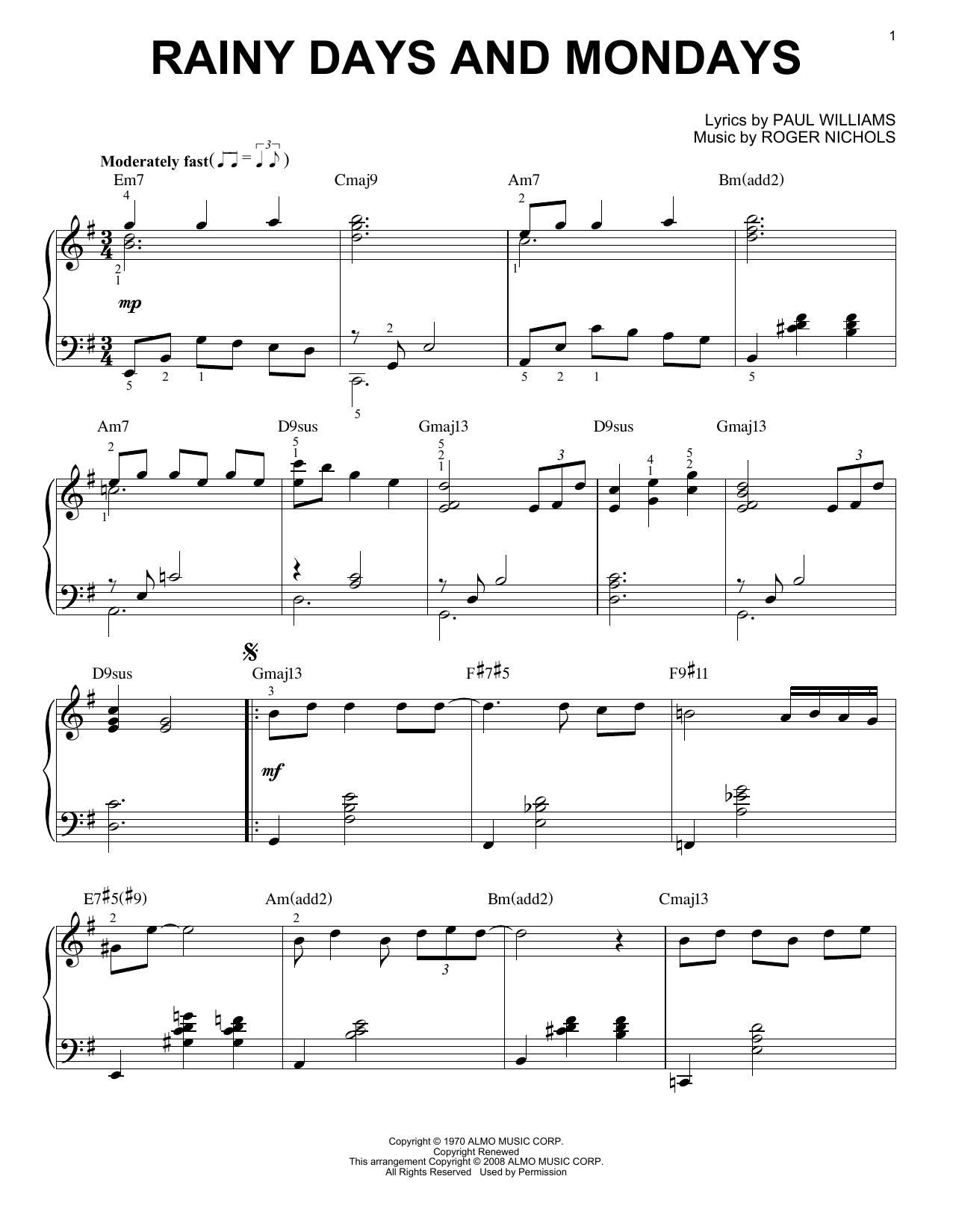 Carpenters Rainy Days And Mondays [Jazz version] arr. Brent Edstrom Sheet  Music Notes, Chords   Download Printable Piano Solo PDF Score   SKU 15