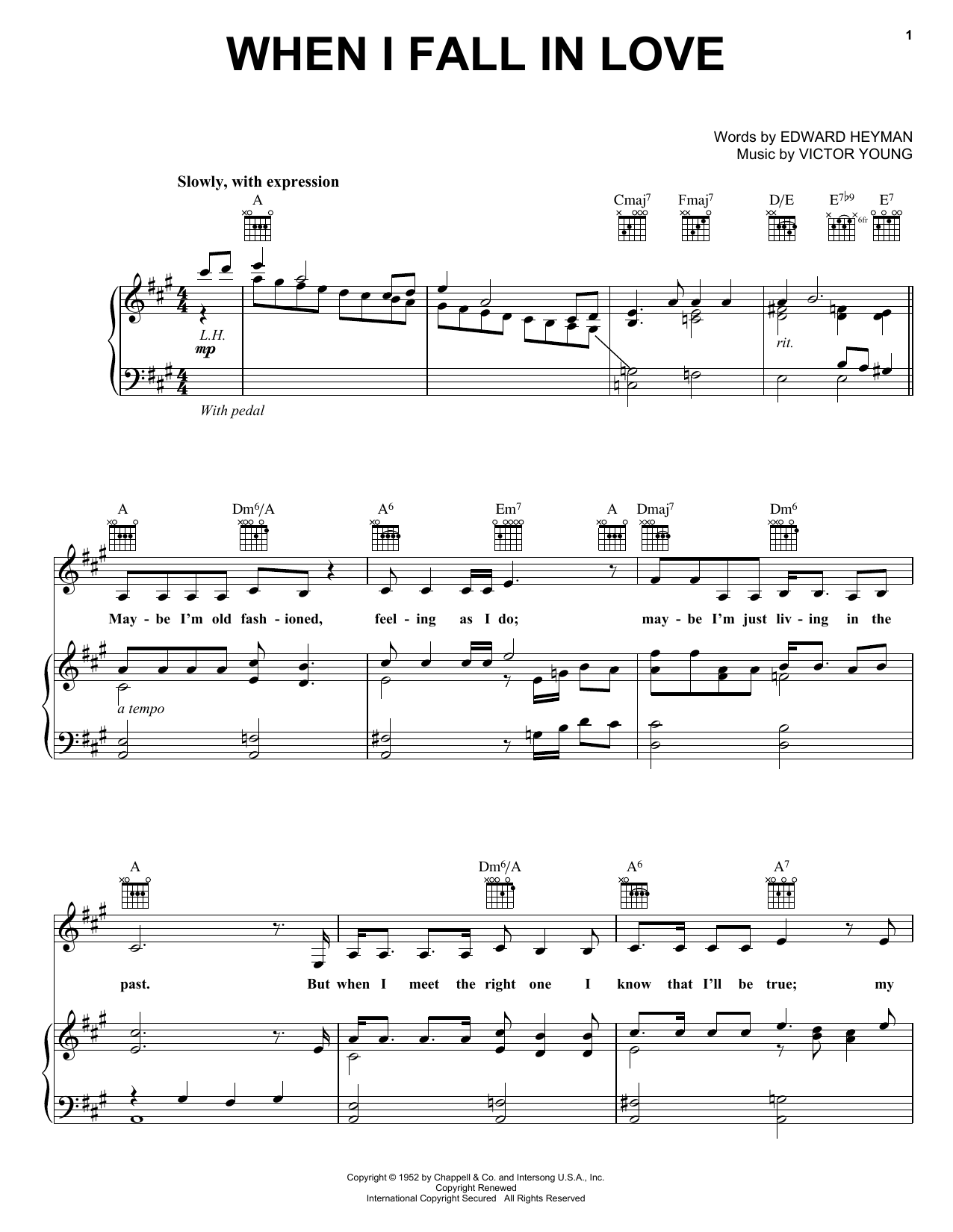 Carpenters When I Fall In Love sheet music notes and chords