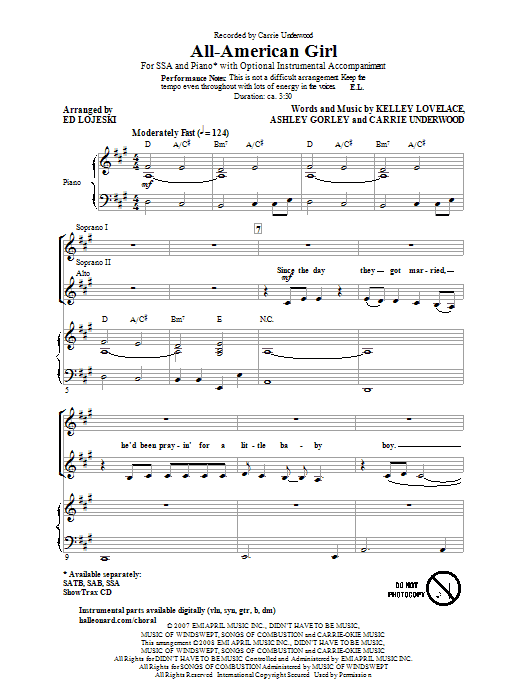 Carrie Underwood All-American Girl (arr. Ed Lojeski) sheet music notes and chords. Download Printable PDF.