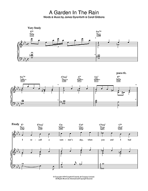 Carroll Gibbons A Garden In The Rain sheet music notes and chords. Download Printable PDF.