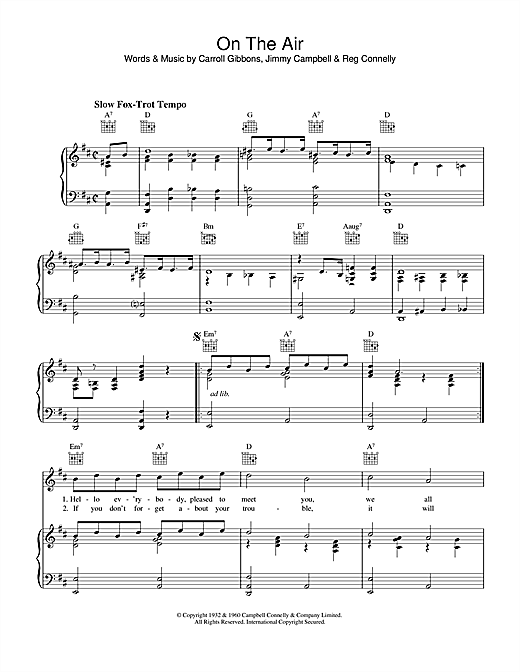 Carroll Gibbons On The Air sheet music notes and chords. Download Printable PDF.