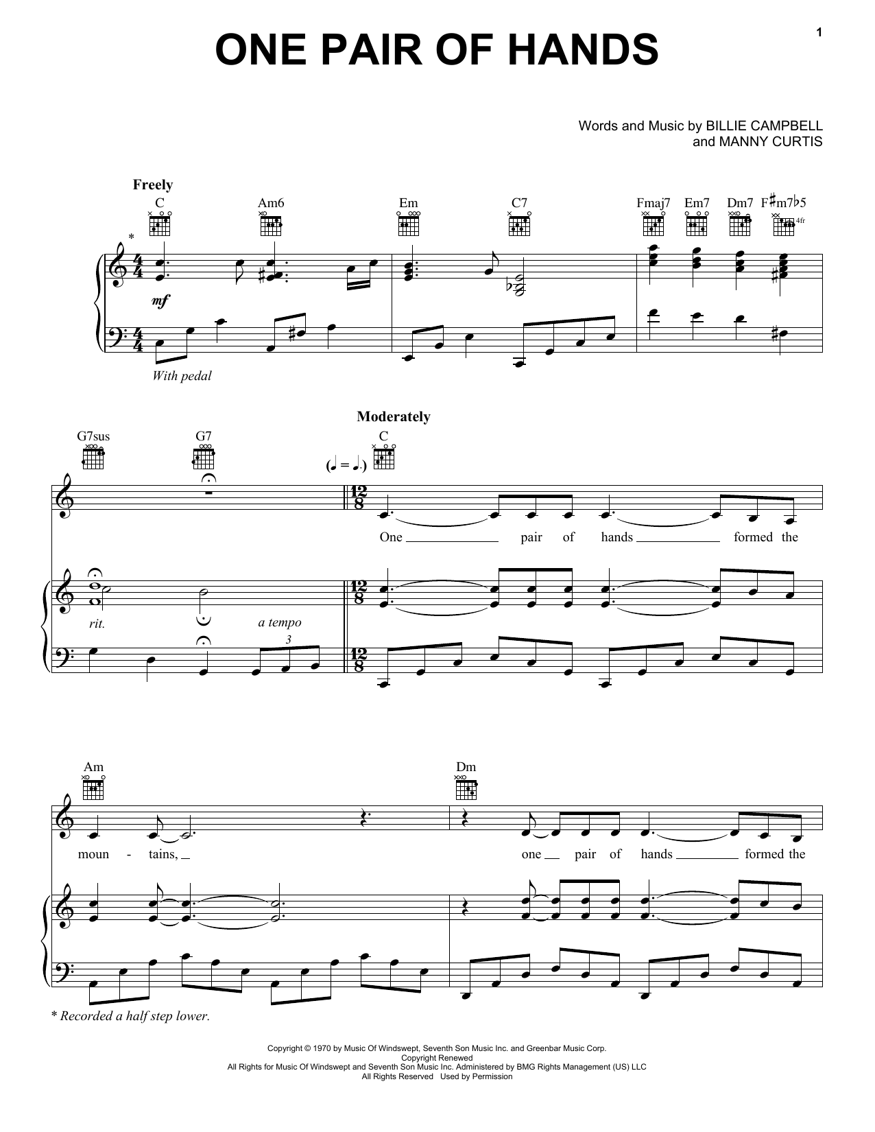 Carroll Roberson One Pair Of Hands sheet music notes and chords. Download Printable PDF.