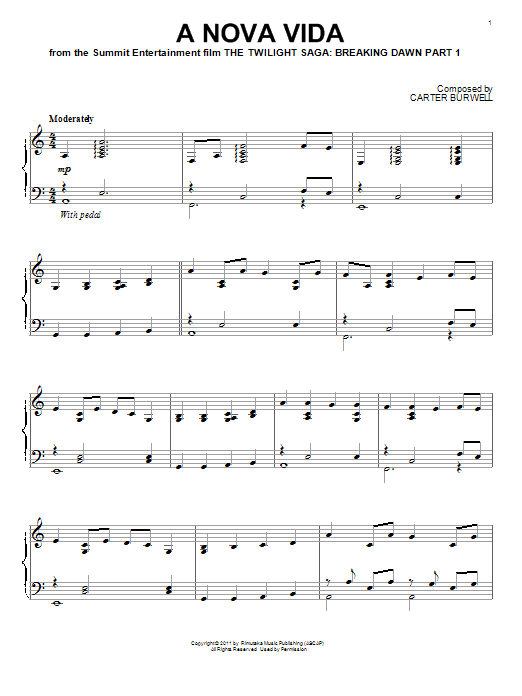 Carter Burwell A Nova Vida sheet music notes and chords. Download Printable PDF.