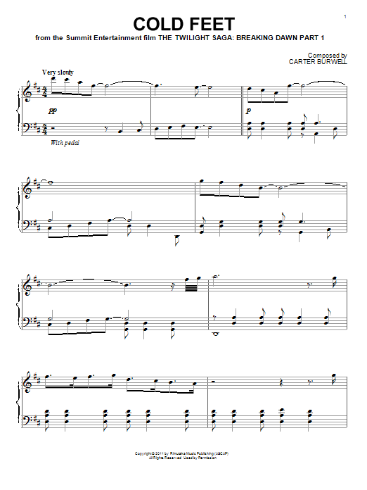Carter Burwell Cold Feet sheet music notes and chords. Download Printable PDF.
