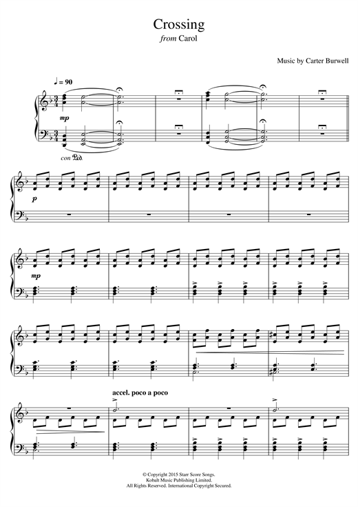 Carter Burwell Crossing (from 'Carol') sheet music notes and chords