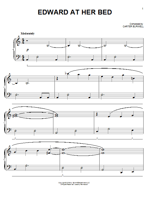 Carter Burwell Edward At Her Bed sheet music notes and chords. Download Printable PDF.