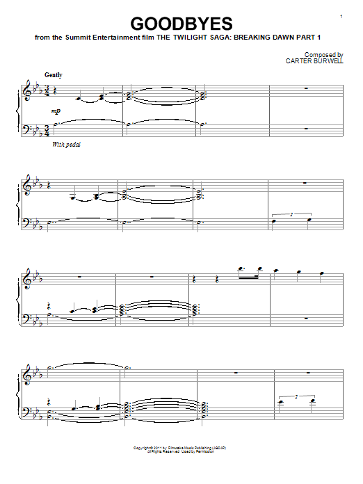 Carter Burwell Goodbyes sheet music notes and chords. Download Printable PDF.