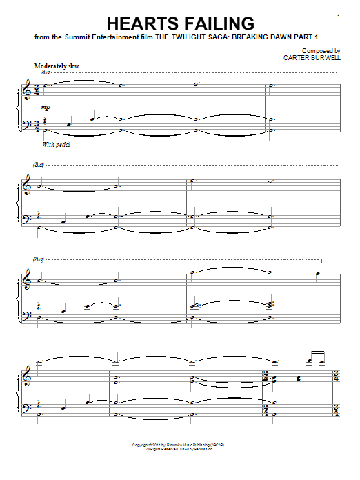 Carter Burwell Hearts Failing sheet music notes and chords. Download Printable PDF.
